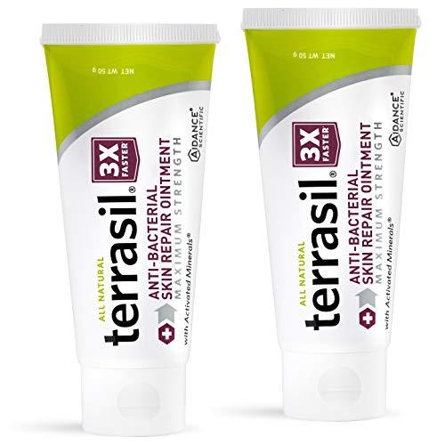 Antibacterial Skin Repair Max 3X Natural Ingredients - For Fissures Folliculitis Angular Cheilitis Impetigo Chilblains Lichen Sclerosus Cellulitis 50gm Max 2-pack by Terrasil
