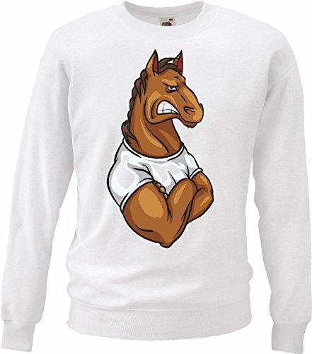 Sweatshirts paard in het hemd van de spieren bodybuilding fitnessstudio gewichtstraining fitnessstudio spieropbouw voedingssupplementen bodybuilding in wit