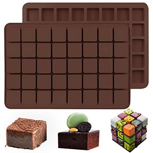 IHUIXINHE 2 Moldes de Silicona Cuadrados de 40 Cavidades para Caramelos, para Caramelos, Trufas de Chocolate, Cubitos de Hielo de Whisky, Pralinés, Gelatina de Goma, Fondant de Rejilla