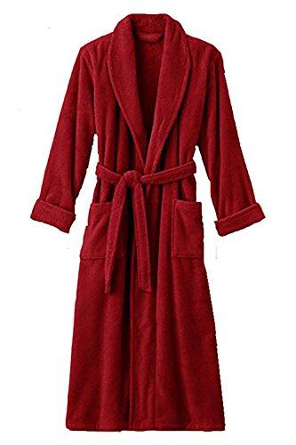 Hotel Luxury Reserve Red Terry Velour Bathrobe For Men