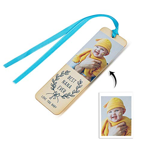 Bosajewel Personalized Photo Bookmark Custom Engraved Text Bookmarks Wooden Book Markers Cards for Men Women Birthday Christmas Ornaments Party Decorations Gift