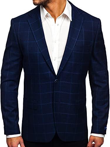BOLF Hombre Americana a Cuadros Botonadura Simple Blazer de Algodón Ropa de Abrigo Traje Elegante Corte Clásico Negocio Ocio Boda Chaqueta Estilo Casual RWX S2002 Azul Oscuro XL [4D4]