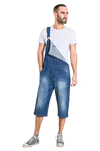 USKEES Herren Latzhose Overall Shorts Loose Fit Kurze Latzhose latz Shorts CHRISTOPHERSHORTDENIM-40W