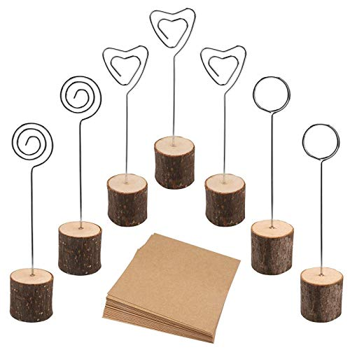 muscccm Rustic Wood Place Card Holder, Photo Picture Note Clips with Swirl Wire Wooden Table Number Stands & 25 pcs Kraft Place Cards Bulk ?Best Choice for Wedding Home Party Table Number Name Label