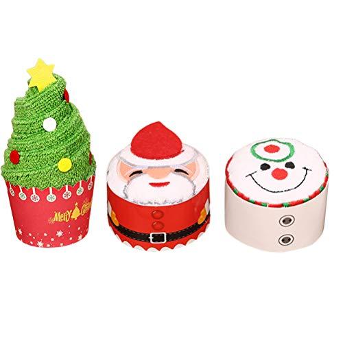 BESTOYARD 3pcs gâteau de noël modélisation Coton Serviette Gant de Toilette Cadeau Chic pour la décoration de noël (Père Noël + Arbre de Noël + Bonhomme de Neige)