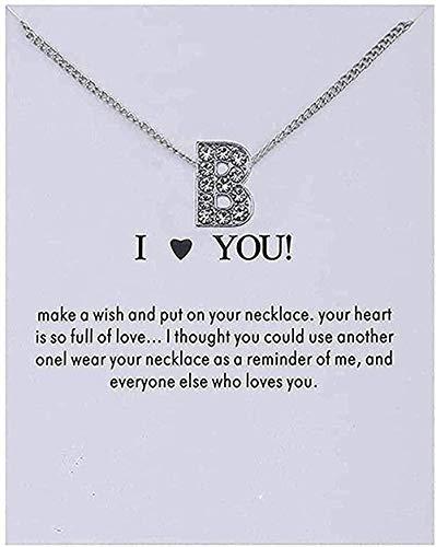 WYDSFWL Collares Mujer Cristal Alfabeto Letras Iniciales Mensaje Tarjeta Collar Colgante Mujeres Collares Te Amo Joyería