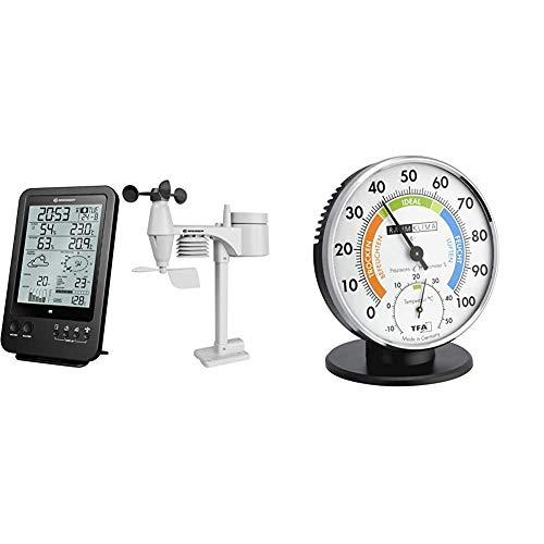 Bresser Wetterstation Funk mit Außensensor Wetter Center 5-in-1 (5,5 Zoll Display) Schwarz & TFA Dostmann Präzisions Thermo-Hygrometer,45.2033 , zur Raumklimakontrolle, analog, mit Komfortzonen
