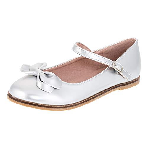 Dorémi Festliche Kinder Mädchen Ballerinas Schuhe für Partys und Freizeit in vielen Farben M297si Silber Gr.32