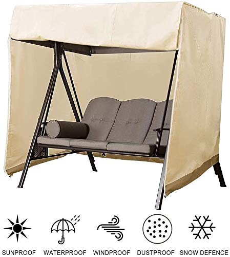 Swing Cover 3 Seater with Zips and Shrink Rope Garden Swing Seat Cover Windproof Hammock Cover Anti-UV Heavy Duty 210D Oxford Rip Proof Protector Garden Swing Chair Covers All Weather Protection