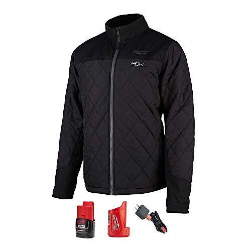 Milwaukee M12 12-Volt Lithium-Ion Cordless AXIS Heated Quilted Jacket Kit (Large, Black)