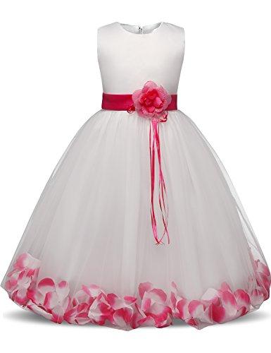 NNJXD Mädchen Tutu Blütenblätter Schleife Brautkleid für Kleinkind Mädchen, Großes Rose, 6-7 Jahre/ Etikettgröße- 140