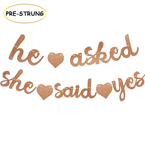 He Asked She Said Yes Banner Bachelorette Garland Rose Gold Glitter Bridal Shower Engagement Valentine's Day Party Decorations (Rose Gold)