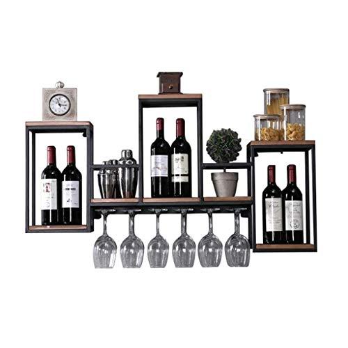 BOWCORE Weinregal, Wandmontage, zum Aufhängen von Flaschen, Glashalter, Stiel für Weingläser, Weinregal, Holz