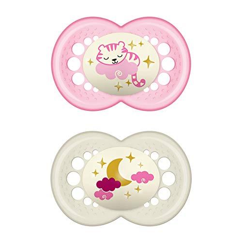 MAM Original Night Schnuller im Doppelpack, leuchtender Baby Schnuller, besonders weicher Baby Schnuller für schnelle Akzeptanz mit Sterilisier-Transportbox, ab 6-16 Monate, Tiger/Mond