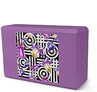 ヨガブロック、水彩ブルーフラワーフォームヨガブロック、EVAフォームブリックフェザーウェイトと快適-柔らかな滑り止めの表面は、ヨガ、運動、ピラティス、瞑想のための安定性とバランスを提供します-紫-8.9x3.1x6インチ