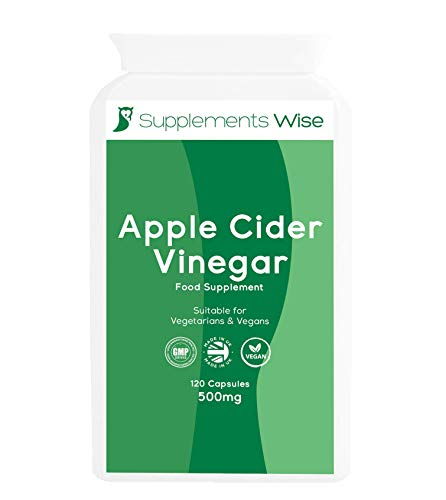 Apple Cider Vinegar Capsules - 120 x 500mg - High Strength ACV - Candida, Thrush and Yeast Infection Treatment - Water Retention Tablets - Supplement for Weight Loss and Digestion - 1000mg Daily