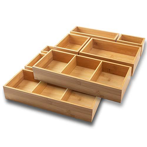 itena® Bambusowy organizer do szuflad z wyjmowanymi ściankami działowymi I 10-częściowy organizer na biurko I innowacyjny system szuflad do biura, kuchni i łazienki I dwupak (37,5 x 37,5 x 6,35 cm)