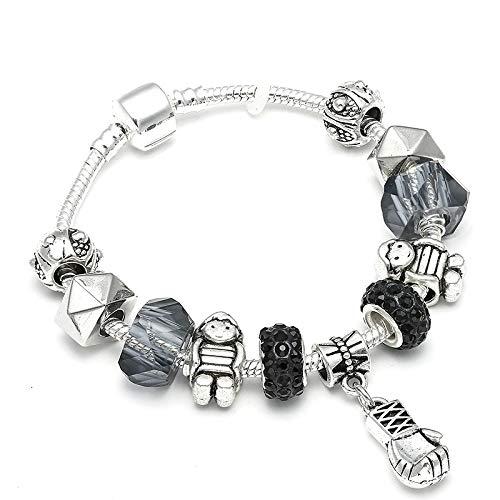 IJEWALRY Damenarmband Armbänder Armband,Feine Boxhandschuhe Anhänger Marke Charme Elegantes Armband Frauen Mann Perlen Armband Fit Kinder Geschenk