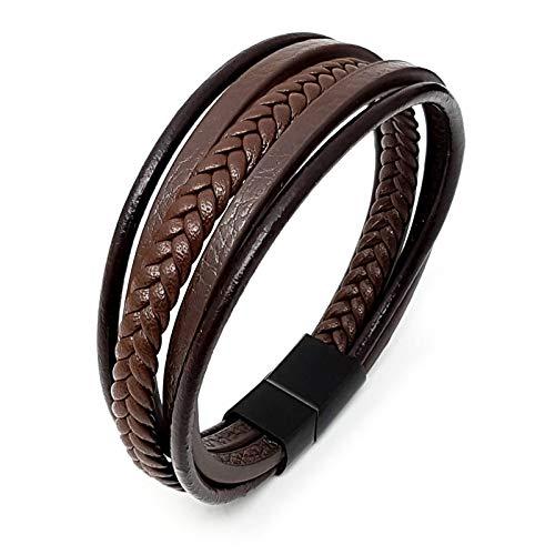 ROYALZ Armband für Männer braun geflochten in Vintage Lederoptik Magnetverschluss Herren Accessoire Handgelenk Armschmuck, Farbe:Montana Braun