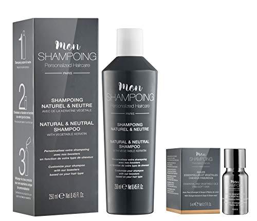Mon Shampoing - Duo Shampoing Naturel - Cheveux Fins - Sans SLS/Sans Paraben/Sans Silicone - Huiles Essentielles & Vég. Fleur Oranger - Sauge - Raisin - Convient pour Lissage/Extension. 250ml + 5ml
