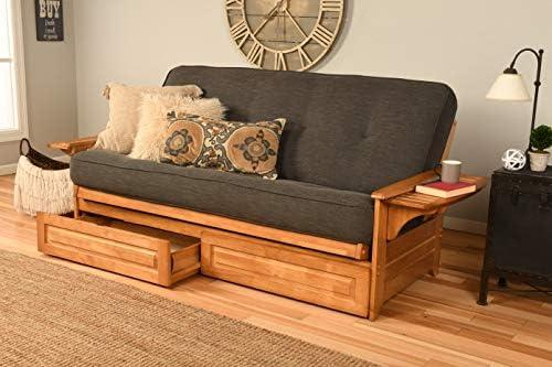 Kodiak Furniture Phoenix Full Size Futon in Butternut Finish with Storage Drawers Linen Charcoal product image