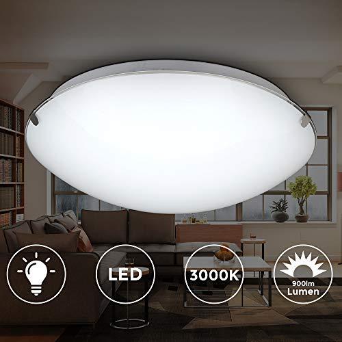 LED Deckenleuchte I Deckenlampe aus Metall und Glas I inkl.11,5W I 900 Lumen I Flur Lampe I 3000K warmweiß I Ø30cm