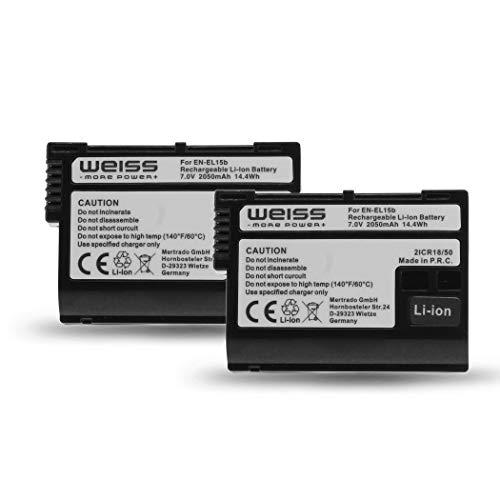 Lot de 2 Batteries pour Nikon EN-EL15b Li-ION 2050 mAh Compatible avec Nikon Z6   Nikon Z7   Nikon D7200 [rétrocompatible avec Nikon EN-EL15a et Nikon EN-EL15] de Weiss - More Power +