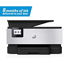 Elevated productivity: This color printer comes in an aluminum finish and offers faster printing at 22 pages per minute, automatic 2-sided copy and scan, fax capabilities, and a 35-page automatic document feeder 8 months of ink, delivered: The HP Off...