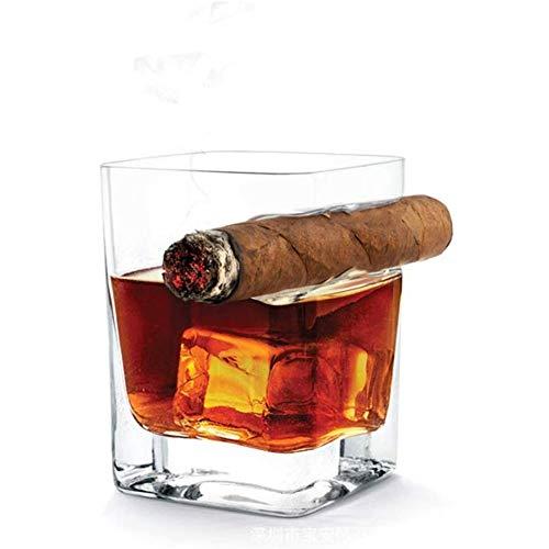 Yiyu Whisky-Glas Mit Zigarren-Halter, Old Fashion Wein Bourbon Brandy Beer Liquor Cup Zigarre Zigarette Liebhaber Für Haus Und Bar, Wein Geschenke x (Color : Clear)