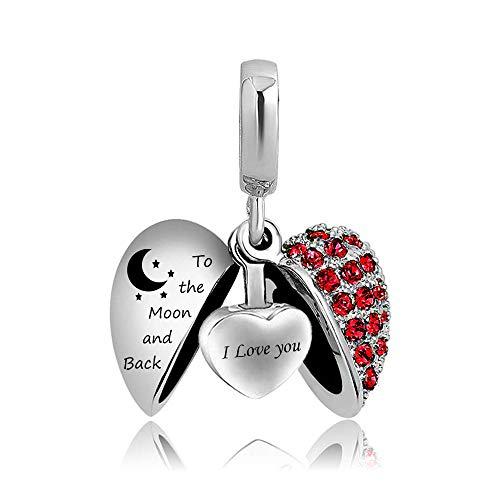 Ember Hanger Hartvormige Kristallen Ketting Crematie Urn Ketting, As Prachtige Souvenir Sieraden (Inclusief Ketting/Pin/Trechter Set),Red