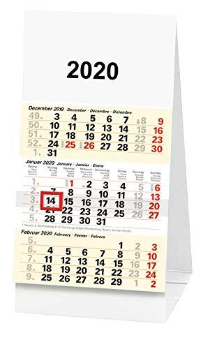 Kleiner Dreimonatskalender für den Schreibtisch (2020, 1 Stück)