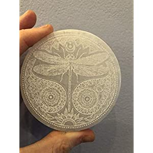 "3"" Etched Dragonfly Spirit Animal Hand Made Moroccan Selenite Charging Plate"