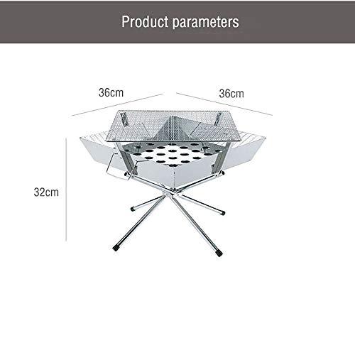 41aObQXKpdL - BGROESTWB Tragbare Grillzubehör Folding beweglicher Edelstahl-Außen Charcoal BBQ Grill for das Wandern Picknick Camping Für Grillparty (Color : Silver, Size : 36x36x32cm)