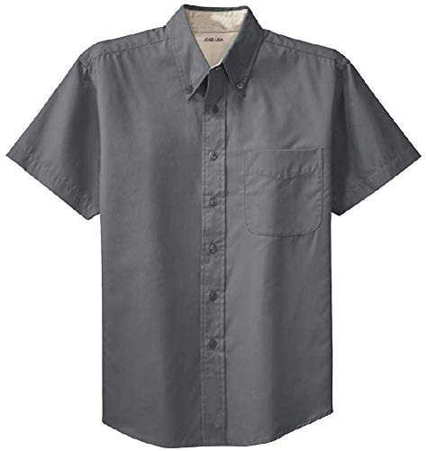 Joe's USA(tm) - Men's Short Sleeve Wrinkle Resistant Easy Care Shirts-L,Steel Grey/Light Stone