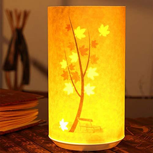 SXFYWYM Luz de Noche Pergamino Lámpara de cabecera Talla de Papel Control Remoto por Infrarrojos Lámparas de inducción Románticas para iluminación de cabecera,Mapleleaf,118X217MM