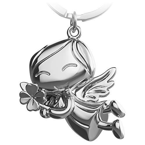 FABACH Schutzengel Schlüsselanhänger Lucky mit Kleeblatt - Glücksengel aus Metall - Glücksbringer Auto Engel Anhänger - Geschenk Viel Glück