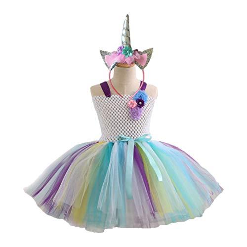 YeahiBaby Einhorn Tutu Kleid Stirnband Set Regenbogen Tüll Outfit Party Dress Up Tutu Rock mit Einhorn Horn Haarband für 2-3Y Mädchen Kinder