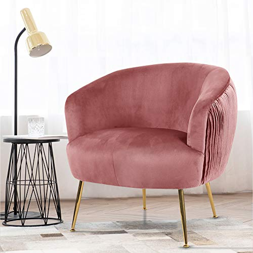Warmiehomy Occasional Chair Velvet Armchair Upholstered Lounge Tub Chair with Solid Legs for Living Room Bedroom Office Reception Cafe Conservatory (Pink)