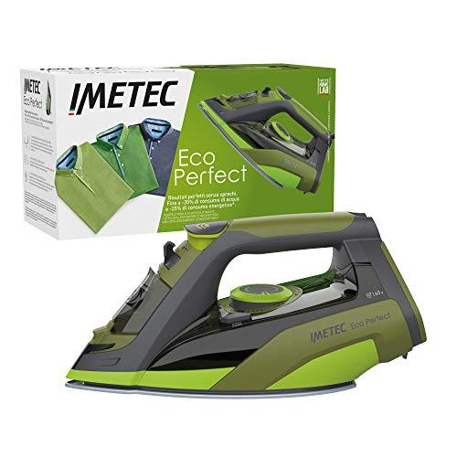 Imetec Plancha de vapor Eco Perfect, excelentes resultados con -35% de consumo de agua y -25% de consumo de energía, Suela con revestimiento de cerámica Pro, Triple protección anti-cal, 2400 W