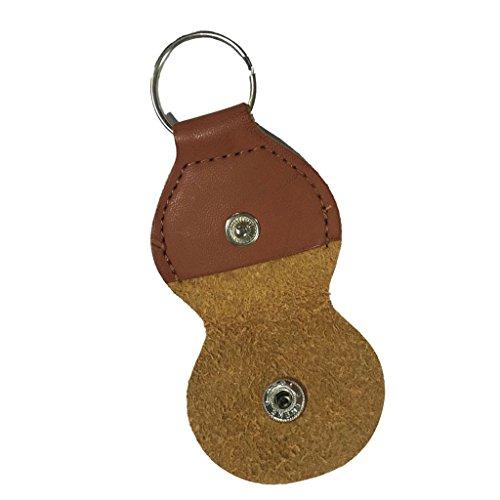 Gazechimp 1 pcs Schlüsselanhänger Plektrenhalter aus Leder Halter Plektrum Tasche Braun für 5 Stück Plektren