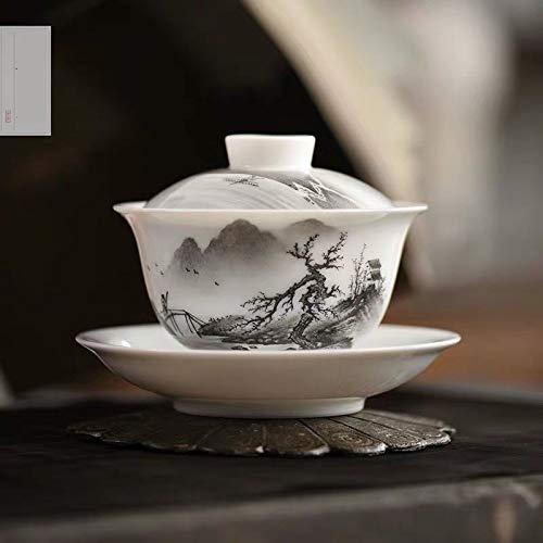 Yazishanghang Kung Fu Tee-Set im chinesischen Stil Tuschemalerei Weißes Porzellan Tee-Schale Handgefertigte Keramik-Tee-Set Teeservice (Farbe : Single Tea Bowl)