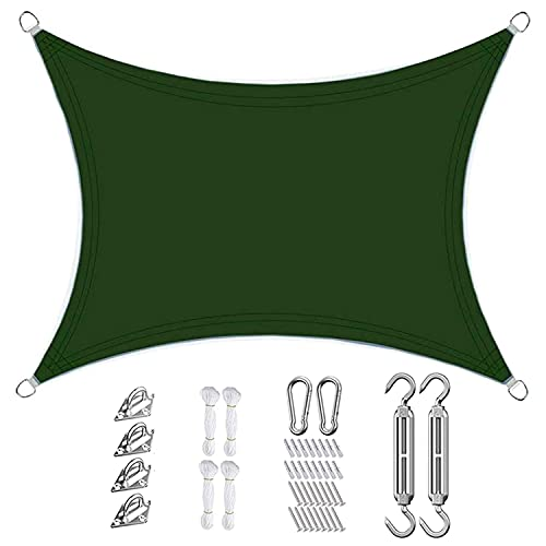 GUOGAI Toldo Parasol 3x5.5m Resistente y Transpirable,Impermeable, Toldo Vela IKEA Telas Lona Cubierta Protección Anti-UV 95% para Jardín Patio Terraza Balcón, Verde Oscuro
