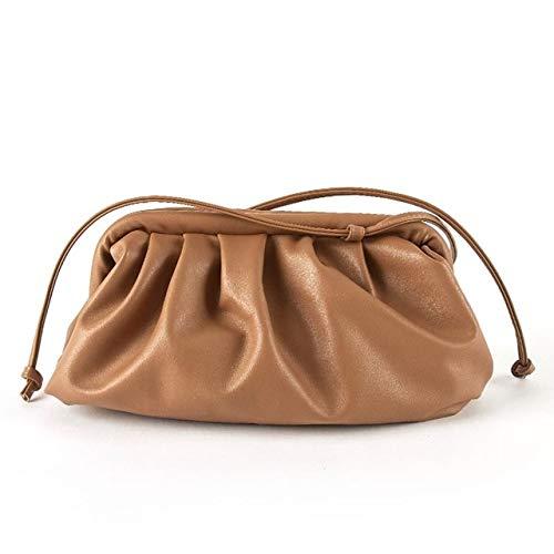 Mdsfe Bolso para Mujer Bolso de Nube Bolso Madame de Cuero Suave Bolso de Bola de Masa Inclinada de un Solo Hombro Bolso Bolsos de embragues de día Bolso de Mensajero - marrón
