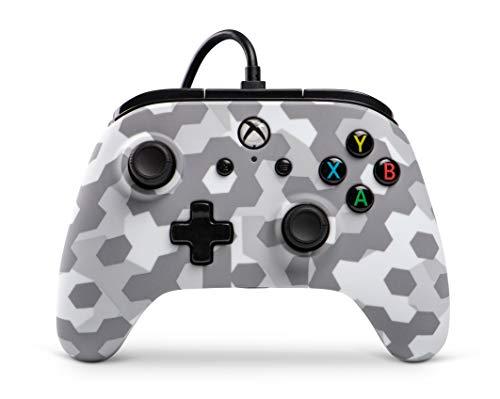Power A Kabelgebundener Controller Offiziell von Microsoft lizenziert und Kompatibel mit Xbox One, Xbox One S, Xbox One X und Windows 10 - Arktischer Frost Camo