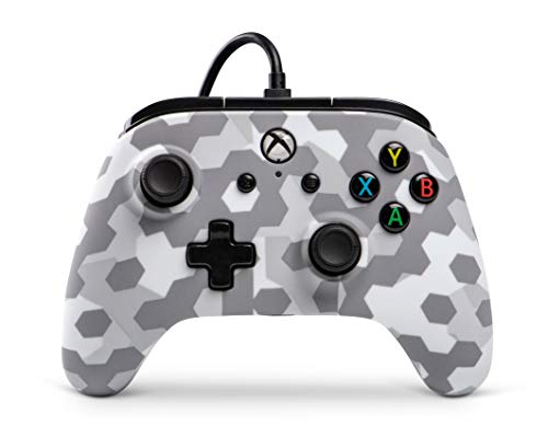 PowerA Manette Filaire sous Licence Officielle Microsoft Compatible avec Xbox One, Xbox One S, Xbox One X & Windows 10 - Arctic Frost Camo