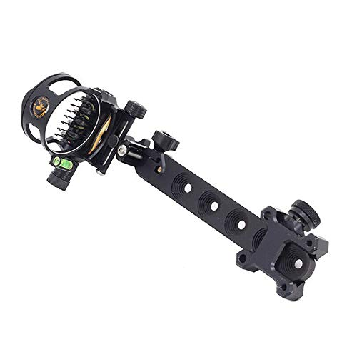 Weatlake Compound Bow Sight 7 Pin .019 Micro Adjustable Detachable Length Archery Hunting (Black)