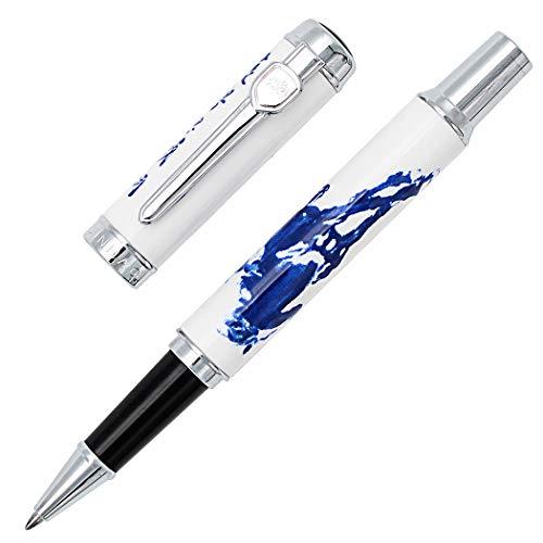 pluma del rodillo de lujo Gullor 950 porcelana azul y blanca con la caligraf¨ªa china y el caballo