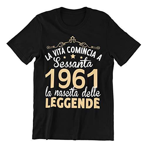 Vulfire Maglietta Uomo Idea Regalo per Compleanno, 1961 La Vita Comincia a sessanta la Nascita delle Leggende, Festa dei 60 Anni (Nero, L)