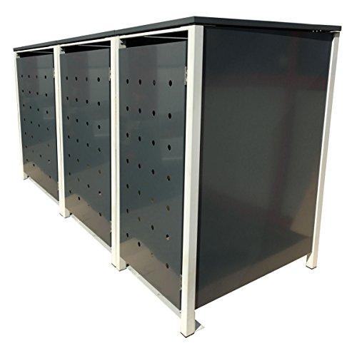 BBT@ | Hochwertige Mülltonnenbox für 3 Tonnen je 240 Liter mit Klappdeckel in Grau / Aus stabilem pulver-beschichtetem Metall / Stanzung 1 / In verschiedenen Farben sowie mit unterschiedlichen Blech-Stanzungen erhältlich / Mülltonnenverkleidung Müllboxen Müllcontainer - 2