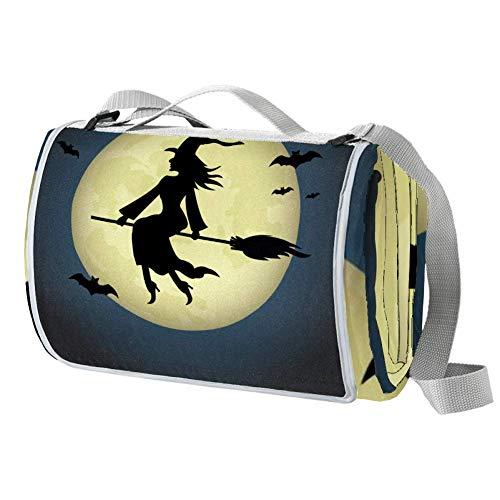 NewLL Halloween bruja equitación escoba picnic manta impermeable al aire libre manta...